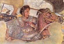Aleksandar Veliki na svom konju Bukefalu – detalj freske iz Pompeja
